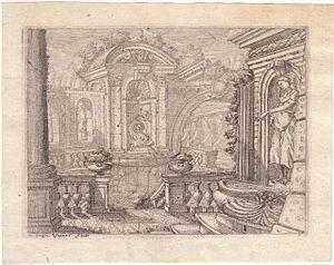 Francesco Vaccaro - Architectural Capriccio with a Fountain by Francesco Vaccaro, British Museum