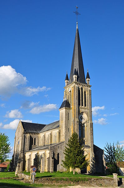The Church of St. Catherine in Waly was consecrated September 26, 1897 by the Bishop of Verdun. In Gothic Revival style, the building contains carved furniture (canton Seuil-d'Argonne, arrondissement Bar-le-Duc, Meuse department, Lorraine region, France).