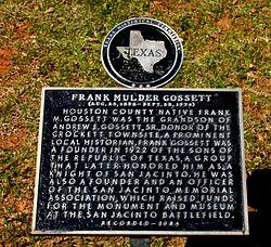 Photo of Frank Mulder Gossett black plaque