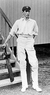 Frank Woolley standing with his bat
