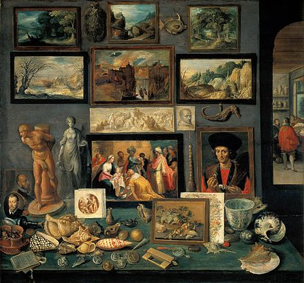 Frans Francken the Younger, Preziosenwand (Wall of Treasures), 1636. Kunsthistorischesmuseum, Vienna. This type of painting was one of the distinctly Flemish innovations that developed during the early 17th century. Frans Francken d. J. 009.jpg