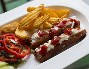 Frikandel - Home-made frikandel speciaal with fries