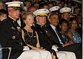 From left, the Commanding Officer of Marine Barracks Washington (MBW), Col. Christian G. Cabaniss; First Lady of the Marine Corps Bonnie Amos; the Evening Parade host, Commandant of the Marine Corps Gen. James 140627-M-KS211-265.jpg
