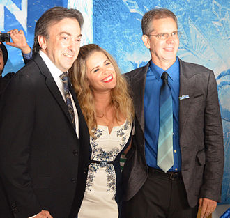 Frozen (2013 film) - Peter Del Vecho, producer; Jennifer Lee, writer and director; and Chris Buck, director, at the film's premiere at the El Capitan Theatre in Hollywood.