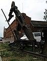 Güterbahnhofsgelände in Freiburg, Skulptur Der Weichensteller an der ehemaligen Lok-Halle 2.jpg