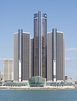 The Renaissance Center in Detroit, Michigan, is General Motors' world headquarters.