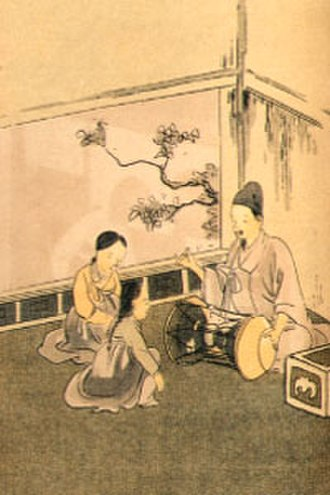 Kisaeng - Young kisaeng receiving musical instruction, c. 1910