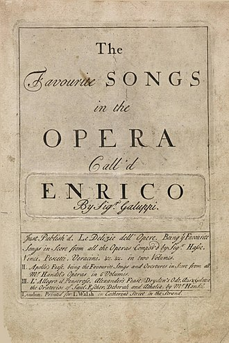 Baldassare Galuppi - Arias from Galuppi's 1743 opera, Enrico, to a libretto by Francesco Vanneschi