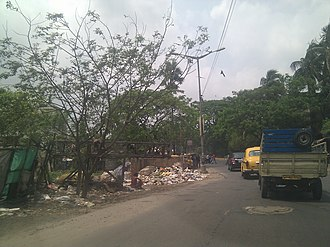 Environmental issues in India - Public dumping of rubbish alongside a road in Kolkata.