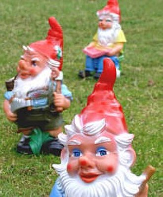 Gnome - The garden gnome has come to be stylised as an elderly man with a full white beard and a pointed hat.