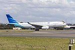 Garuda Indonesia (PK-GPQ) Airbus A330-243 departing Sydney Airport (1).jpg