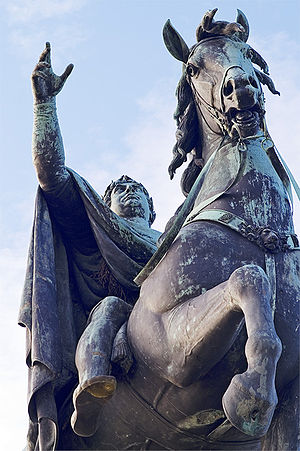 Windsor Great Park - George III depicted as Roman Emperor in the bronze statue in Windsor Great Park