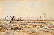 a watercolours landscape painting in earth tones showing shell holes with a couple of tress without leaves.