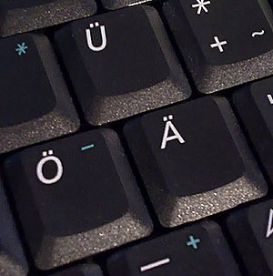 Germanic umlaut - Ä, Ö, Ü on a German computer keyboard