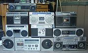 An assortment of boomboxes