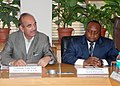 Ghulam Nabi Azad in a meeting with the Health Minister of the Democratic Republic of Congo, Dr. Felix Kabange Numbi, to discuss the bilateral issues on Health, in New Delhi on March 22, 2013.jpg