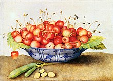 painting of a bowl of cherries on a table