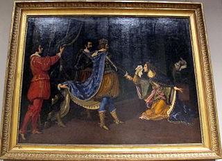 Isabelle d'Aragon implorant Charles VIII en faveur de son père, Alphonse, roi de Naples, et de son mari, Giovanni Galeazzo Sforza, duc de Milan, lors de la conquête de Naples par les Français en 1494