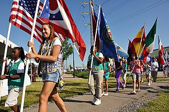 Scouting in Ohio - Image: Girl Scouts at Lorain International Festival opening ceremonies (3664101200)