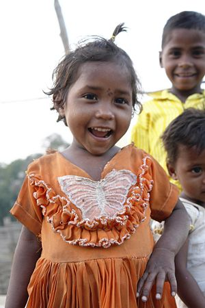 Bhil people - Image: Girl in orange dress, Gauhadi village