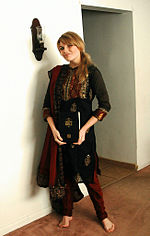 Girl in plain churidaar kurta
