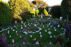 Culture of the Falkland Islands - Gnomes in a Stanley Garden, a peculiarly British taste