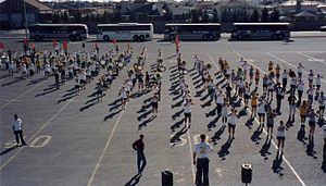 University of Minnesota Marching Band - The marching band practices in El Paso, Texas before the 1999 Sun Bowl.