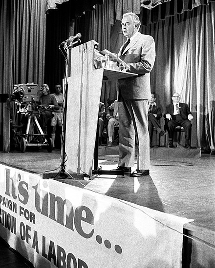 Whitlam giving a speech during the 1972 election campaign Gough Whitlam 1972 policy speech.jpg