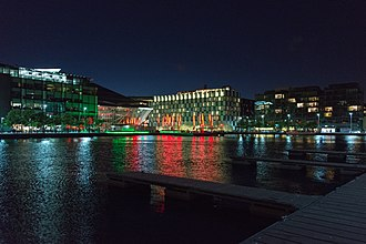 Dublin Docklands - A view of Grand Canal Square in Dublin's regenerated Docklands. The Bord Gais Energy Theatre is on the left and The Marker Hotel in the centre and Hanover Quay on the right.