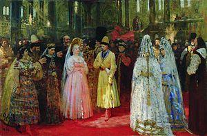 Eudoxia Streshneva - Mikhail Fyodorovich Choosing His Bride, by Ilya Repin.