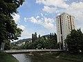 Grbavica tower and Miljacka bridge.JPG