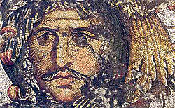 One of the floor mosaics excavated at the Great Palace of Constantinople and dated to the reign of Justinian I. It is presumed to represent a conquered Gothic king.