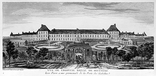 The royal hospital Bicetre where 160-170 men were killed. Hopital Royal de Bicetre, Paris; panoramic view with gardens Wellcome L0003004.jpg