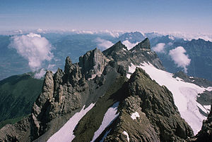 Dents du Midi - Six peaks of the Dents du Midi as seen from the seventh and highest one (the Haute Cime, 3257 m)