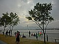 HK Kwun Tong Promenade 觀塘海濱花園 Hoi Bun Road trees visitors view Kai Tak Typhoon Shelter n KTCT Dec-2013 Kai Tak Cruise Terminal evening 02.JPG