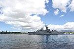 HMAS Toowoomba (FFH 156) departs Pearl Harbor, Hawaii, during RIMPAC 2018.jpg