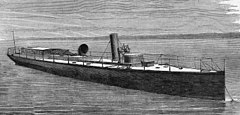 An illustration of HMS Lightning in 1877.