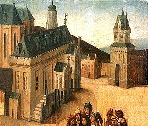 City Hall (Haarlem) - City Hall of Haarlem, detail from 1460 painting by the Master of Bellaert.