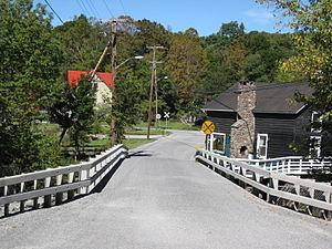 Halcottsville, New York - A bridge crosses the East Branch Delaware River in Halcottsville