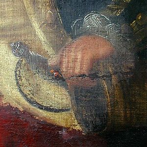 """Black Admiral - Detail of the left hand of the """"Black Admiral"""" after restoration."""