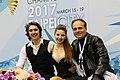 Hannah Grace Cook, Temirlan Yerzhanov and Evgeny Platov at the 2017 Junior World Championships.jpg