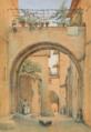 Harald Conrad Stilling - Byparti fra Assisi med personer ved en buegang.png