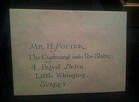 La lettre d'admission de Harry à Poudlard.