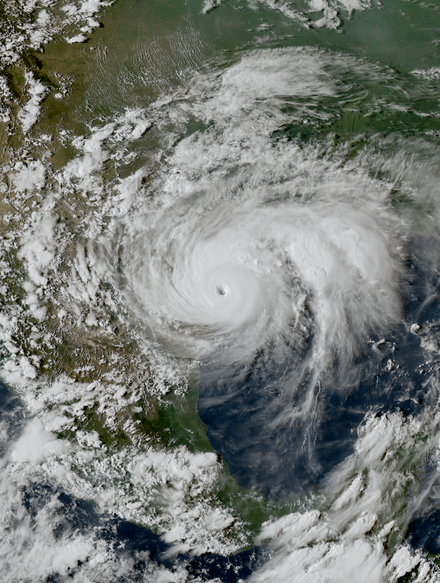 Hurricane Harvey as a Category 4 hurricane, near its Texas landfall on August 25, 2017 Harvey 2017-08-25 2231Z.png