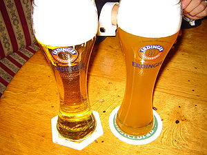 Wheat beer - A kristallweizen (left) and a hefeweizen (right)