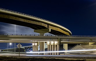 Yellowhead Trail - Yellowhead Trail passing underneath Anthony Henday Drive in Strathcona County just east of Edmonton
