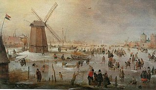 Winter Scene with Windmill