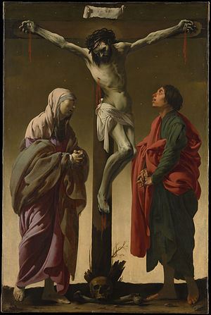 Johannes de Renialme - The Crucifixion with the Virgin and Saint John (1625) by Hendrick ter Brugghen, oil on canvas, 154.9 x 102.2 cm, The Metropolitan Museum of Art, from De Renialme's 1657 death inventory