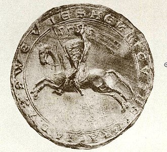 Henry (VII) of Germany - Henry's seal (dated 1216) shows him as a mounted knight with a shield and banner displaying three leopards (three lions passant guardant)as the Hohenstaufen coat of arms; the three lions (later shown just passant) would later become known as the Swabian coat of arms.