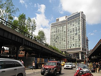 High Line - The High Line runs under the Standard Hotel.